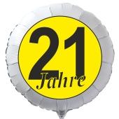 """Luftballon aus Folie zum 21. Geburtstag, weisser Rundballon, """"21 Jahre"""" in Schwarz-Gelb, inklusive Ballongas"""