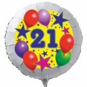 Luftballon aus Folie zum 21. Geburtstag, weisser Rundballon, Sterne und Luftballons, inklusive Ballongas