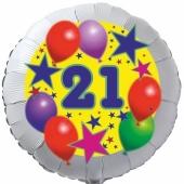 Sterne und Ballons 21, Luftballon aus Folie zum 21. Geburtstag, ohne Ballongas