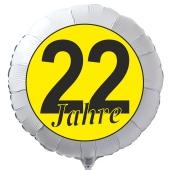 """Luftballon aus Folie zum 22. Geburtstag, weisser Rundballon, """"22 Jahre"""" in Schwarz-Gelb, inklusive Ballongas"""