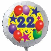Luftballon aus Folie zum 22. Geburtstag, weisser Rundballon, Sterne und Luftballons, inklusive Ballongas