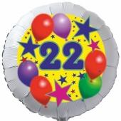Sterne und Ballons 22, Luftballon aus Folie zum 22. Geburtstag, ohne Ballongas