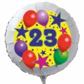 Luftballon aus Folie zum 23. Geburtstag, weisser Rundballon, Sterne und Luftballons, inklusive Ballongas
