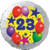 Sterne und Ballons 23, Luftballon aus Folie zum 23. Geburtstag, ohne Ballongas