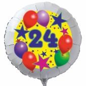 Luftballon aus Folie zum 24. Geburtstag, weisser Rundballon, Sterne und Luftballons, inklusive Ballongas