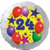 Sterne und Ballons 24, Luftballon aus Folie zum 24. Geburtstag, ohne Ballongas