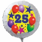 Luftballon aus Folie zum 25. Geburtstag, weisser Rundballon, Sterne und Luftballons, inklusive Ballongas