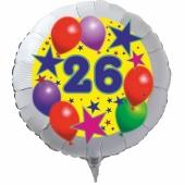 Luftballon aus Folie zum 26. Geburtstag, weisser Rundballon, Sterne und Luftballons, inklusive Ballongas