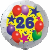 Sterne und Ballons 26, Luftballon aus Folie zum 26. Geburtstag, ohne Ballongas