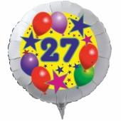 Luftballon aus Folie zum 27. Geburtstag, weisser Rundballon, Sterne und Luftballons, inklusive Ballongas