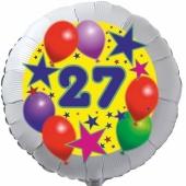 Sterne und Ballons 27, Luftballon aus Folie zum 27. Geburtstag, ohne Ballongas