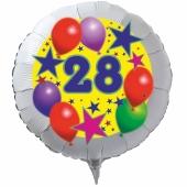 Luftballon aus Folie zum 28. Geburtstag, weisser Rundballon, Sterne und Luftballons, inklusive Ballongas