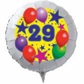 Luftballon aus Folie zum 29. Geburtstag, weisser Rundballon, Sterne und Luftballons, inklusive Ballongas