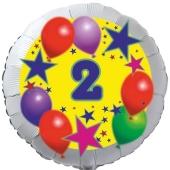 Sterne und Ballons 2, Luftballon aus Folie zum 2. Geburtstag, ohne Ballongas