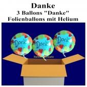 Danke sagen mit Ballon, 3 Luftballons aus Folie Danke, mit Helium