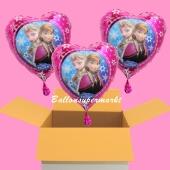 3 Helium-Luftballons, Frozen, Anna und Elsa, die Eisköniginnen, Geschenk und Partydekoration zum Kindergeburtstag
