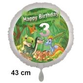 Dinosaurier Luftballon Zahl 3 zum 3. Geburtstag, 43 cm