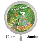 Dinosaurier Luftballon Zahl 3 zum 3. Geburtstag, 70 cm