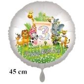 Luftballon Zahl 3 zum 3. Geburtstag, 43 cm, Dschungel mit Wildtieren