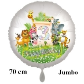 Luftballon Zahl 3 zum 3. Geburtstag, 70 cm, Dschungel mit Wildtieren