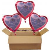 Glückwünsche zur Hochzeit, 3 Helium-Luftballons in Herzform, 3 Herzballons mit Glückwünschen