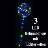 3 LED Heliumballons mit Lichterketten