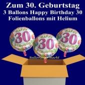 3 Luftballons mit Helium zum 30. Geburtstag, Happy Birthday Balloons, 30