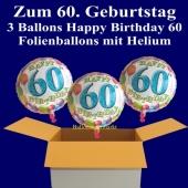 3 Luftballons mit Helium zum 60. Geburtstag, Happy Birthday Balloons, 60