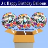 3 Geburtstags-Luftballons, Happy Birthday Balloons, Holografische Ballons mit Helium