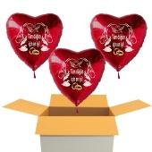3 Stück Hochzeitsballons, Luftballons zur Hochzeit, rote Herzballons mit Trauringen:Tüm düğün için en iyi