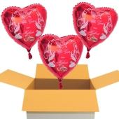 3 Hochzeitsballons, Luftballons zur Hochzeit, rote Herzballons mit Trauringen, Hochzeitstaube und Schwänen, Alles Gute zur Hochzeit, inklusive Ballongas Helium