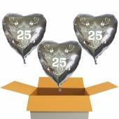 3 Herzluftballons aus Folie in Silber, Tauben, Herzen und Schleifen, Zahl 25, zur Silbernen Hochzeit inklusive Helium Ballongas