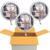 Zur Konfirmation alles Gute! 3 Luftballons in Weiß aus Folie mit Helium