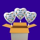 3 weiße Herzluftballons aus Folie: 60 Jahre, Diamantene Hochzeit