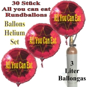 "30 ""All you can eat"" Rundballons aus Folie in Rot mit 3 Liter Ballongas"
