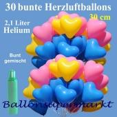 30 bunte Herzluftballons, Ballons-Helium-Set, 2,1 Liter Ballongas zur Hochzeit