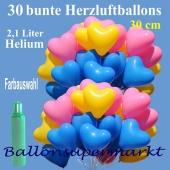 30 Herzluftballons mit Farbauswahl, Ballons Helium Set, 2,1 Liter Ballongas zur Hochzeit