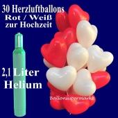Ballons Helium Set Hochzeit, 30 Herzluftballons in Rot und Weiß