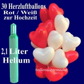 30 Herzluftballons rot und weiß zur Hochzeit steigen lassen, Ballons Helium Set