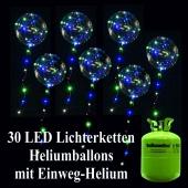 30 LED Lichterketten Heliumballons mit 2,2 Liter Helium-Einweg