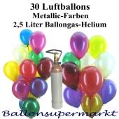 Set-Ballons-Helium-30-Luftballons-Metallicfarben-2.5-Liter-Helium-Ballongas