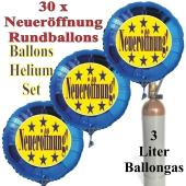 """30 """"Neueröffnung"""" Sternchen Rundballons aus Folie in Blau mit 3 Liter Ballongas"""
