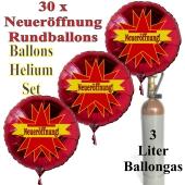 """30 """"Neueröffnung"""" Stars Rundballons aus Folie in Rot mit 3 Liter Ballongas"""