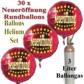 """30 """"Neueröffnung"""" Sternchen Rundballons aus Folie in Rot mit 3 Liter Ballongas"""