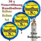 """30 """"Neueröffnung"""" Super Angebote Rundballons aus Folie in Blau mit 3 Liter Ballongas"""