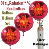 """30 """"Reduziert! %"""" Star Rundballons aus Folie in Rot mit 3 Liter Ballongas"""