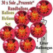 30 Stück Sale-Prozente Helium-Luftballons in Rot, 10 Prozent, 20 Prozent, 30 Prozent, 40 Prozent, 50 Prozent, 60 Prozent, Rundballons in Rot mit Heliumflasche