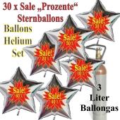 30 Stück Sale-Prozente Helium-Luftballons, 10 Prozent, 20 Prozent, 30 Prozent, 40 Prozent, 50 Prozent, 60 Prozent, Sternballons in Silber mit Heliumflasche