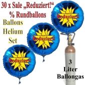 """30 """"Sale Reduziert! %"""" Star Rundballons aus Folie in Blau mit 3 Liter Ballongas"""