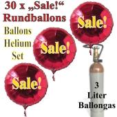 "30 ""Sale!"" Rundballons aus Folie in Rot mit 3 Liter Ballongas"